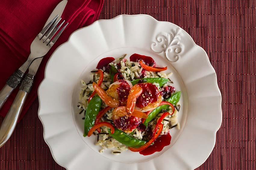 spicy blackberry shrimp on wild rice recipe