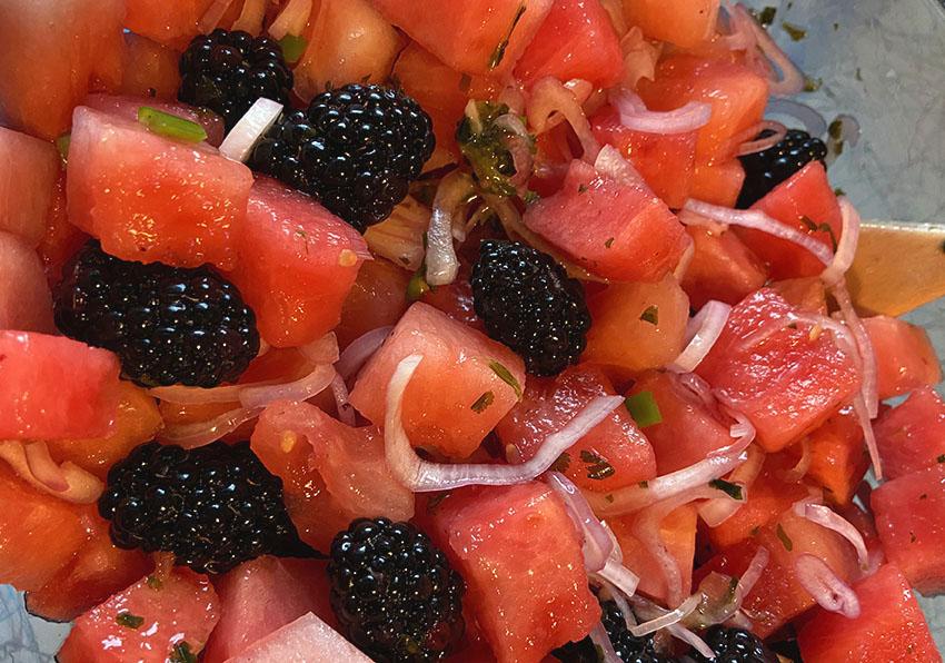 oregon berries gregory gourdet watermelon blackberry salad